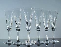 Anciennes 6 Flutes A Champagne En Cristal Taille Modele Cerdagne St Louis Signes