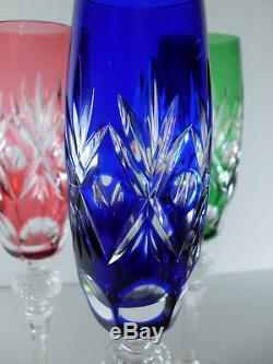 Anciennes 6 Flutes Verres A Champagne En Cristal Couleur Double Taille Wmf