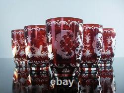 Anciennes 6 Gobelets Verres A Whisky Cristal Couleur Rubis Taille Bohème 1930