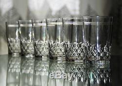 Anciennes 6 Gobelets Verres En Cristal Modelé Chauny Taille Baccarat Signe
