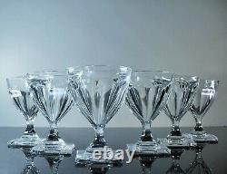Anciennes 6 Grand Verres A Eau Cristal Taille Cotes Plates Gondole Baccarat Vsl