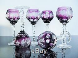 Anciennes 6 Grand Verres A Vin Cristal Couleur Pourpre Raisin Bohème