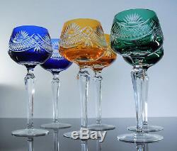 Anciennes 6 Grand Verres A Vin Cristal Double Couleur Bohème