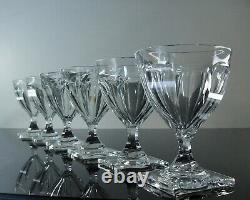 Anciennes 6 Grand Verres A Vin Cristal Taille Cotes Plates Gondole Baccarat Vsl