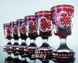 Anciennes 6 Grand Verres Calice A Vin Cristal Couleur Rubis Taille Bohème 1930