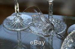 Anciennes 6 Verres A Eau Vin Cristal Taille Souffle St Louis Signe H18