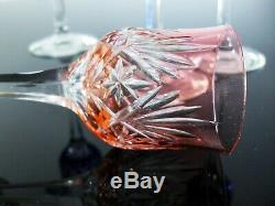 Anciennes 6 Verres A Liqueur Digestif Cristal Couleur Massenet St Louis