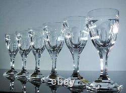 Anciennes 6 Verres A Pied Cristal Taille Poli Modelé Adela Melikoff Moser Signe