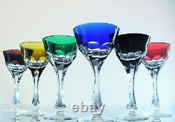 Anciennes 6 Verres A Rhin Cristal Couleur Bristol St Louis St Lambert Bohème
