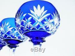 Anciennes 6 Verres A Vin Cristal Couleur Bleu Massenet Massenet St Louis