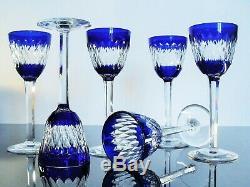 Anciennes 6 Verres A Vin Cristal Couleur Modelé Armagnac Baccarat Signée