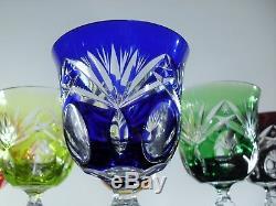 Anciennes 6 Verres A Vin Cristal Couleur Taille Andernach Nachtmann Boheme
