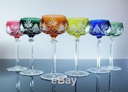 Anciennes 6 Verres A Vin Cristal Couleur Taille Berncastel Val St Lambert
