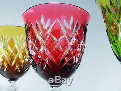 Anciennes 6 Verres A Vin Cristal Couleur Taille Double Couche Wmf Signe