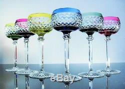 Anciennes 6 Verres A Vin Cristal Couleur Taille Rembrandt Val St Lambert Signe