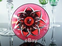 Anciennes 6 Verres A Vin Cristal Couleur Taille St Louis Camargue Signe