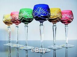 Anciennes 6 Verres A Vin Cristal Couleurs Taille Nachtmann Karat Signe