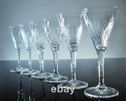 Anciennes 6 Verres A Vin Cristal Taille Modele Nelly Saint Louis Signes 1930