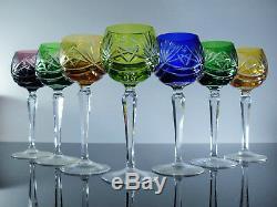 Anciennes 6 Verres A Vin Du Rhin Cristal Couleurs Taille Boheme Non Signe