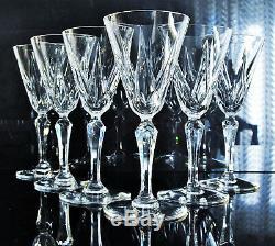 Anciennes 6 Verres A Vin Eau Cristal Taille Modelé Ardèche St Louis Signe