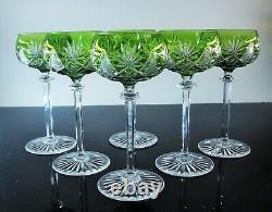 Anciennes 6 Verres A Vin En Cristal Couleur Vert Berncastel Val St Lambert
