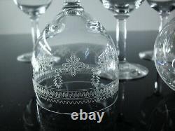Anciennes 6 Verres A Vin Porto Cristal Grave Degage L'acide Balon Baccarat 1916