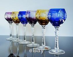 Anciennes 6 Verres A Vin Tip Calice Modelé Raisin Traube Grave Et Taille Ajka