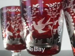 Anciennes 6 Verres Calice A Vin Blanc Cristal Couleur Rubis Taille Bohème 1930