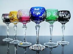 Anciennes 6 Verres Calice A Vin Cristal Double Couleur Taille Traube Bohème