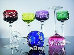 Anciennes 6 Verres Calice Cristal Couleur Taille Boheme Teresenthal Baccarat