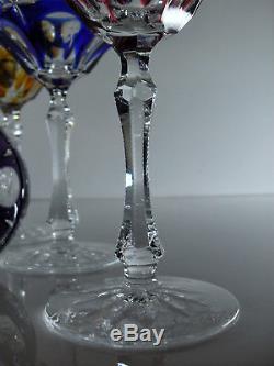 Anciennes 6 Verres Coupes Cristal Couleur Double Taille St. Louis