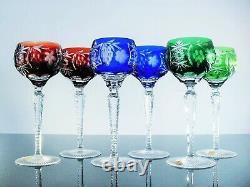 Anciennes 6 Verres Cristal Couleur Double Taille Nachtmann Traube Bohème Signe