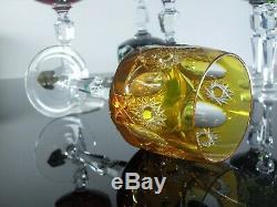 Anciennes 6 Verres Cristal Double Couleur Antika Fantaisie Taille Bohème
