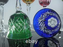 Anciennes 6 Verres Cristal Double Couleur Taille Bohème Signe En Etiquet Neuf
