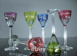 Anciennes 6 Verres Digestif Liqueur Cristal Double Couleur Taille Val St Lambert