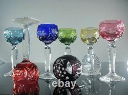 Anciennes 6 Verres Digestif Liqueur Cristal Double Couleur Traube Taille Boheme