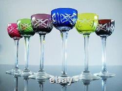 Anciennes 6 Verres Digestif Liqueur En Cristal Double Couleur Taille St Louis