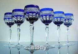 Anciennes 6 Verres En Cristal Couleur Bleu Taille Villeroy Et Boch Signe