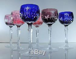 Anciennes 6 Verres En Cristal Couleurs Taille Par Beyer Boheme