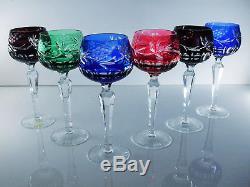 Anciennes 6 Verres Vin Cristal Double Couche Vers 1960 Boheme