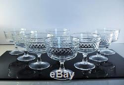 Anciennes 8 Coupes A Champagne En Cristal Taille St Louis Non Signe Avant 1936