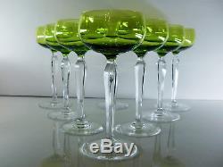 Anciennes 8 Verres A Vin En Cristal Couleur Taille Signe Val St Lambert