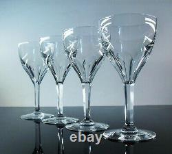 Anciennes Grand 4 Verres A Vin Eau Cristal Modele Bristol Val St Lambert Signe