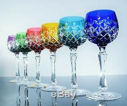 Anciennes Grand 6 Calice A Vin Cristal Double Couleur Taille Fakiris Bohème