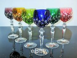 Anciennes Grand 6 Calice A Vin Cristal Double Couleur Taille Joska Bohème Signe