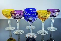 Anciennes Grand 6 Coupes A Champagne, Vin Rouge Cristal Double Couleur Bohème