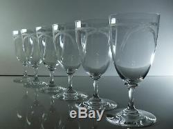 Anciennes Grand 6 Verres A Eau Vin Cristal Souffle Grave Dégage L'acide Baccarat