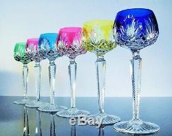 Anciennes Grand 6 Verres A Vin Cristal Couleur Double Couche St Louis Signe