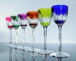 Anciennes Grand 6 Verres A Vin Cristal Couleur Modelé Vérone Baccarat Signe