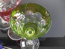 Anciennes Grand 6 Verres A Vin Cristal Couleur Taille Souffle Baccarat Signe